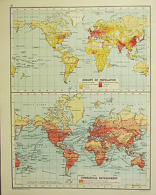 1905 Map ~ The World Density Of Population & Commercial Development With Routes