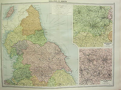1920 Large Map ~ England North ~ York Durham Manchester District Leeds Bradford