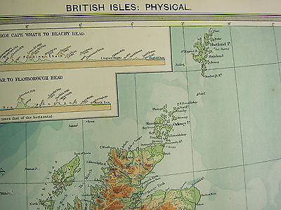 1920 Large Map British Isles Physical Mountain Section Cape Wrath Beachy Heights