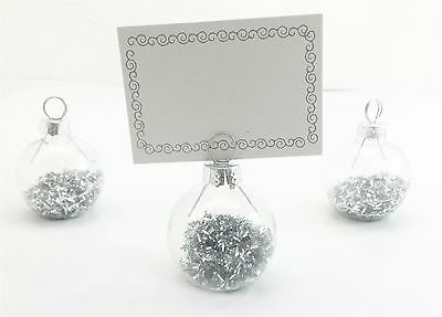 989 6 x Gisela Graham Christmas Bauble Style Silver Glitter Place-card Holders