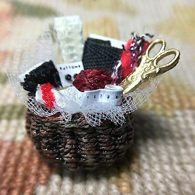 Pat Tyler Dollhouse Miniature Wicker Mending Sewing Basket Container Filled