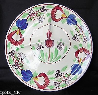 Antique Petrus Regout Hand-Painted Divided Grill / Chop Plate Maastricht Holland