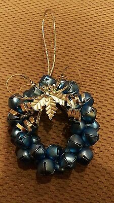 Blue and Silver Jingle Bell Wreath Christmas Ornament