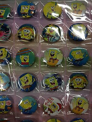 6pcs Sponge Bob 30mm Plastic Badge Brooch Pin Birthday Party Lolly Bag Gift