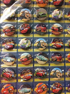 6pcs Cars McQueen 30mm Plastic Badge Brooch Pin Birthday Party Lolly Bag Gift