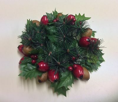 """New 3"""" Christmas Candle Ring Decoration Holly & Mixed Berries"""