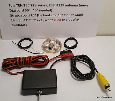 Ten-Tec 229 238 Antenna Tuner lighting bulb stretch cord w/ POWER POLES MUST SEE