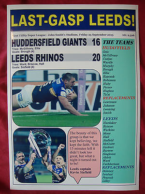 Huddersfield Giants 16 Leeds Rhinos 20 - 2015 Super League - souvenir print
