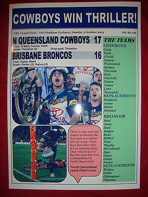 North Queensland Cowboys 17 Broncos 16 - 2015 NRL Grand Final - souvenir print