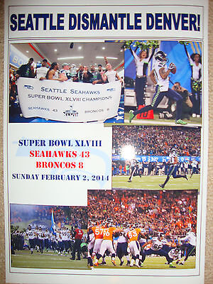 Seattle Seahawks 43 Denver Broncos 8 - 2014 Super Bowl - souvenir print