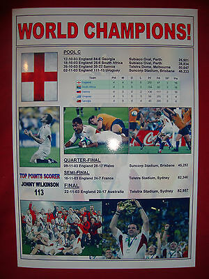 England Rugby Union World Cup winners 2003 - souvenir print