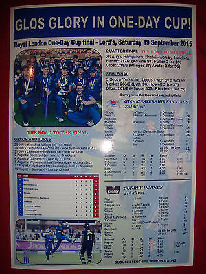 Gloucestershire CCC Royal London One-Day Cup winners 2015 - souvenir print