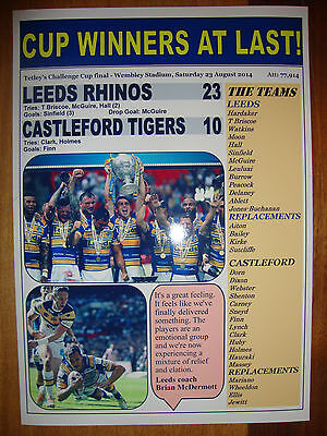Leeds Rhinos 23 Castleford Tigers 10 - 2014 Challenge Cup final - souvenir print