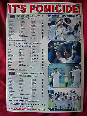 England 4th Ashes Test win 2015 - England win the Ashes - souvenir print