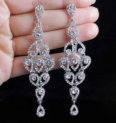 Drops Austrian Crystal Rhinestone Silver Chandelier Dangle Earrings Bridal E2088