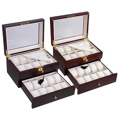 20 Watch Display Case Cherry/Ebony Wood Box Glass Top Jewelry Storage Organizer
