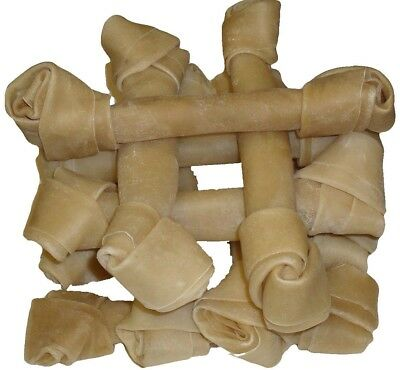 """10 Rawhide Knotted Bones 9"""" - 10"""" Hide Dog Chew Dental Knot Natural Treats NEW"""