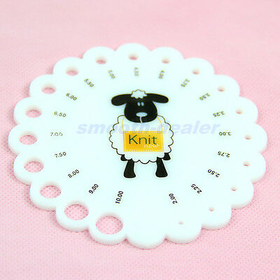 Round Size 2mm -10mm Knitting Knit Needle Sizer Ruler Measure Gauge Tool New