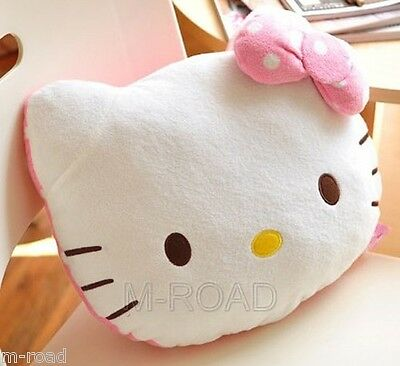 NEW Cute Hello Kitty Plush Throw Pillow Backrest Car Office Seat Lumbar Support