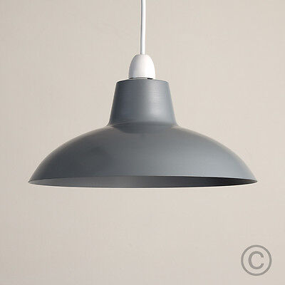 Modern Industrial Style Grey Metal Ceiling Light Pendant Shade Retro Lampshade