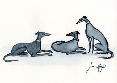 LARGE DOG 4080 DIANNE HEAP GREYHOUND WHIPPET LURCHER DOGS BED PAINTING PRINT ART