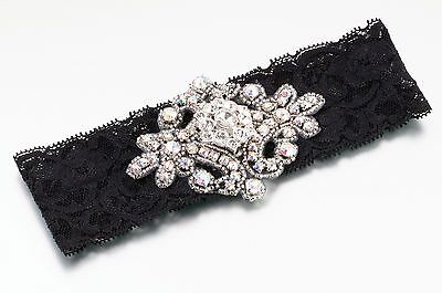 Jeweled Wedding Bridal Garters-White-Ivory-Pink-Black-Free Shipping