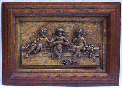 Magnificent 19C French Wooden Hand Carved Oak Cherub Hanging Plaque Framed