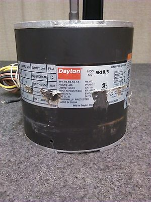 DAYTON 5RHU6 Condenser Fan Motor 1/2-1/3-1/4-1/5 HP 1075 RPM 2 Speed 1PH 60Hz