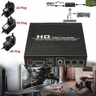 UK/EU SCART/HDMI to HDMI 720P 1080P HD Video Converter Monitor Box For DVD STB