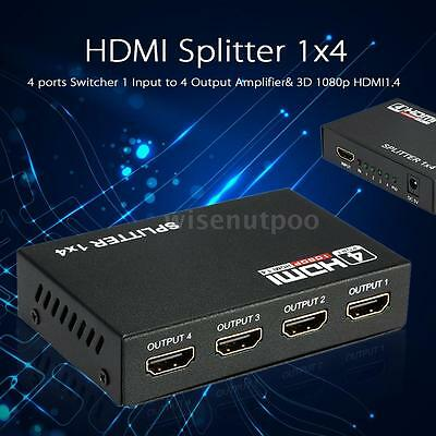 HDMI Splitter Full HD 1080p 3D HDMI1.4 Switcher 1 * 4 HDMI Amplificateur US W1XH