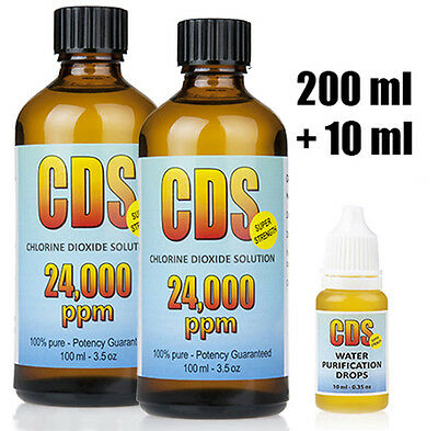 CDS Chlorine Dioxide 24000 ppm 210 ml Water Treatment Drops Water Purification