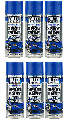 H-Quality 6 x 400ML Blue Gloss Spray Paint Aerosol Can Auto Extreme Bike Van Car