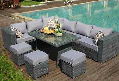 2019PAPAVER RANGE  9 Seater PE Rattan Corner Sofa & Dining Set Garden Furniture