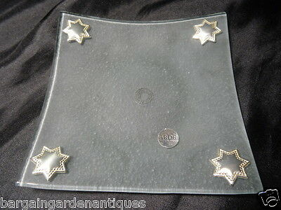 Small Italian Frosted Glass Tray Silver Stars Hallmarked Collectible