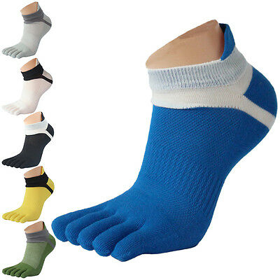 AXH US 1Pair Mens Soft Cotton Toe Sock Breathable Moisture Absorption Sport Sock