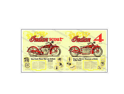 "1929 Indian Motorcycle Sales Brochure, 36"" x 18"" Poster, JG-3119, Jerry Greer's"
