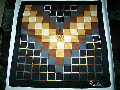 "Foulard ""pierre Cardin ""paris 100% Seta Silk Scarf Vtg '70 Made In Italy"
