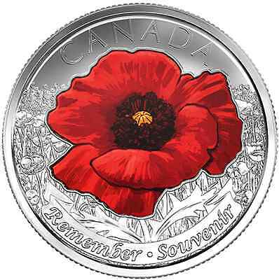2015 Remembrance Poppy Quarters Canadian Coins 1coloured/1non-coloured IN HAND