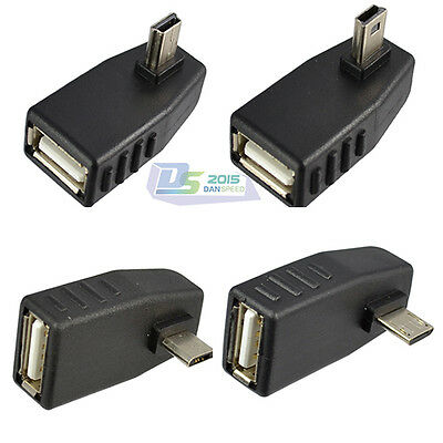 Hot Sale Right Left Angled 90 Degree USB 2.0 A female to Mini 5 pin male adapter
