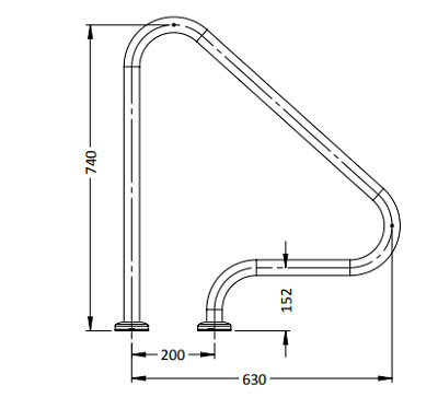 G1 Flanged Grab Rail - Single For Swimming Pools For Swimming Pools
