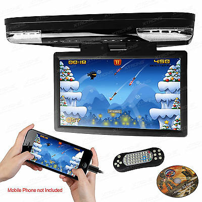 """HDMI 15"""" HD LCD Coach Journey Car Video Flip Drown Monitor Roof DVD Player 1080P"""