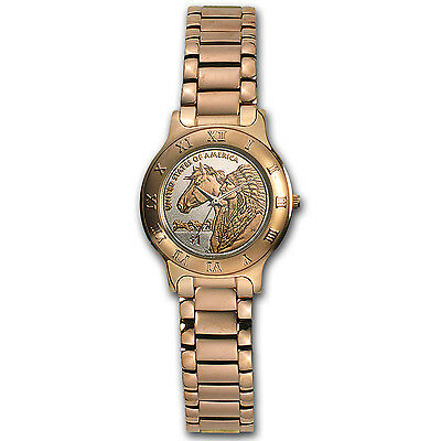 Ladies Native American Horse Rose Gold Coin Watch - SKU #92251