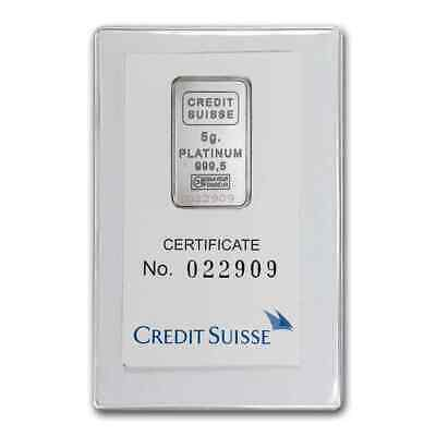 5 gram Credit Suisse Platinum Bar - SKU #1117