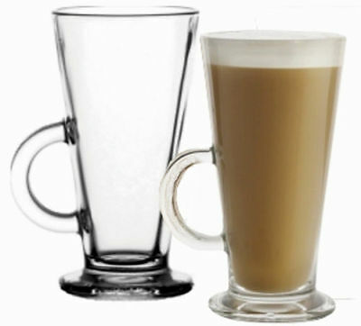 6 x 240ml Glasses  Glass Cups Mugs for Coffee / Tea / Latte / Cappucino & Spoons