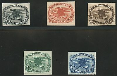 #lo2Tc4 Atlanta Trial Color Plate Proofs On Card 1¢ Eagle Carrier Set Wl9740