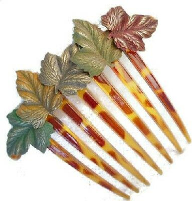 Handpainted Dimentional Brass IVY Leaves French Comb Made in USA 959
