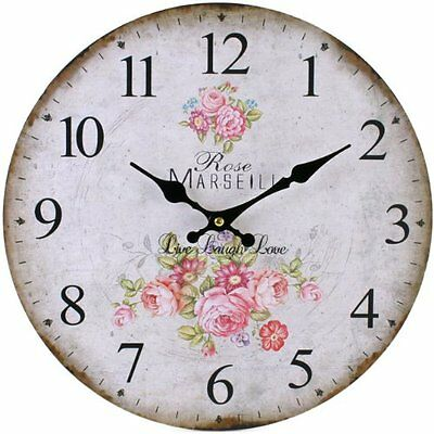 Vintage Rustic French Country Style Rose Flower Wall Clock Kitchen Shabby Chic