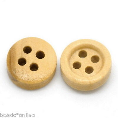 100PCs Natural 4 Holes Round Wood Sewing Buttons 11mm