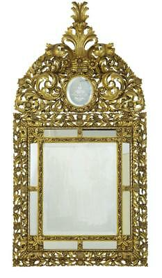 Magnificent Early 20Th Century Carved Wood Baroque Influenced Cushion Mirror