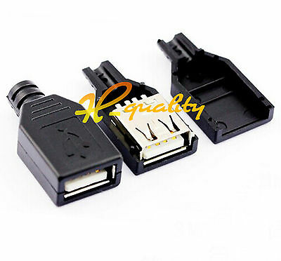 10PCS USB2.0 Type-A Plug 4-pin female Adapter Connector jack&Black Plastic Cover